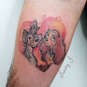 Lady and the Tramp tattoo by Sweety J #SweetyJ #movietattoos #color #illustrative #newschool #watercolor #ladyandthetramp #disney #dog #petportrait #dogs #hearts #spaghetti #tattoooftheday