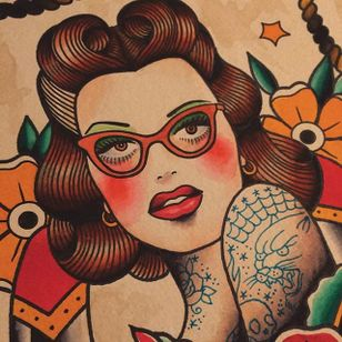 A lovely piece of flash art by Howlin' Wolf (IG—howlinwolftattoo) featuring a lady wearing reading glasses. #glasses #flashart #ladyhead #HowlinWolf #traditional