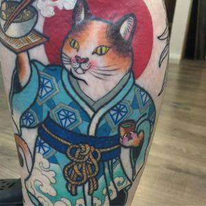 Sake Cat Tattoo by Wendy Pham #WendyPham #wenramen #color #Japanese #traditionalJapanese #newtraditional #mashup #cat #sake #kimono #pattern #diamonds #waves #kitty #monmoncat #tattoooftheday