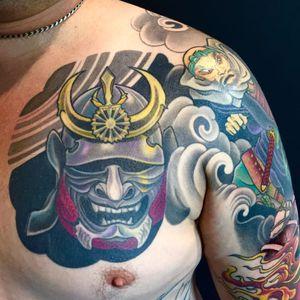 Kabuto Tattoo, artist unknown #Kabuto #KabutoTattoo #SamuraiTattoo #SamuraiHelmet #JapaneseTattoo