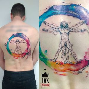 Por Rodrigo Tas! #RodrigoTas #TatuadoresBrasileiros #Aquarela #Watercolor #homemvitruviano #vitruvianman #pontilhismo #dotwork #dotworktattoo