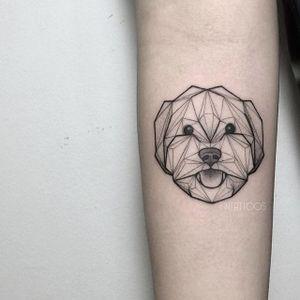 Dog tattoo by Fin T. #FinT #malaysia #geometric #animal #origami #pointillism #dotwork #dog