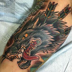 Wolf Tattoo by Jessie Beans #wolf #wolftattoo #colorfultattoo #traditional #traditionaltattoo #boldtattoos #brigthtattoos #JessieBeans