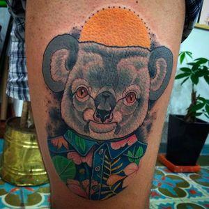 Tropical Koala Design by @SantiagoLobo #SantiagoLobo #Cute #KoalaTattoo #Koala #Tropical #Colombia