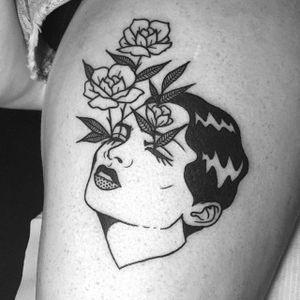 Flowers in Her Eyes by Lydia Marier (via IG-lmariera) #ladyhead #black #illustrative #flowers #portrait #LydiaMarier #girlsgirlsgirls