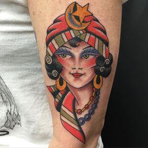 Gypsy woman. #BradStevens #Traditional #bold #gypsy #gypsylady #americantraditional #ladyhead #portrait