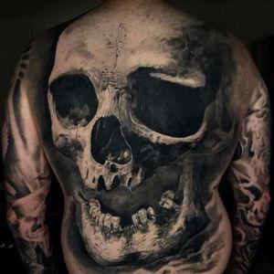 Skull backpiece by Danny Lepore #DannyLepore #blackwork #blackandgrey #realism #realistic #backpiece #skull #bones #death #tattoooftheday