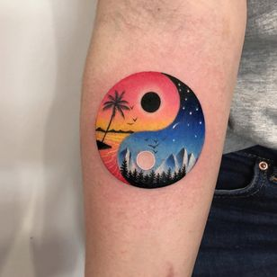 Mini vacation landscape tattoo by Daria Stahp #DariaStahp #landscapetattoo #color #watercolor #painterly #yingyang #beach #island #palmtree #sky #birds #sun #moon #waves #ocean #mountains #forest #stars #tattoooftheday