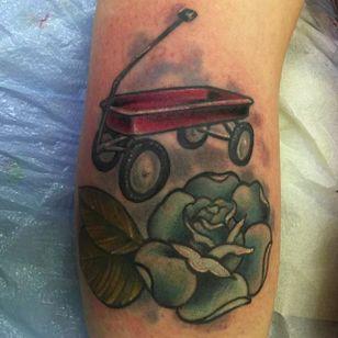 Little red wagon by Neil Faulkner (via IG -- goodtattoosforbadpeople) #neilfaulkner #wagon #redwagon #wagontattoo #redwagontattoo #Littleredwagontattoo