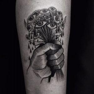 Blackwork eye bouquet tattoo by Roma Broslavskiy. #RomaBroslavskiy #blackwork #illustrative #woodcut #surrealism #bouquet #eye