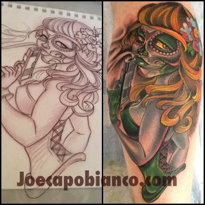 Gun-toting voodoo Blood Puddin lady. Tattoo by Joe Capobianco. #BloodPuddin #capogal #JoeCapobianco #gun #voodoo