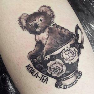 Koalaty pun by Amz Kelso (via IG -- amzkelso) #amzkelso #koala #pun #puntattoo