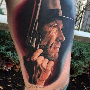 Clint Eastwood portrait by Phil Garcia (via IG- @philgarcia805) #philgarcia #photorealism #realism #realistictattoo #portrait #clinteastwood