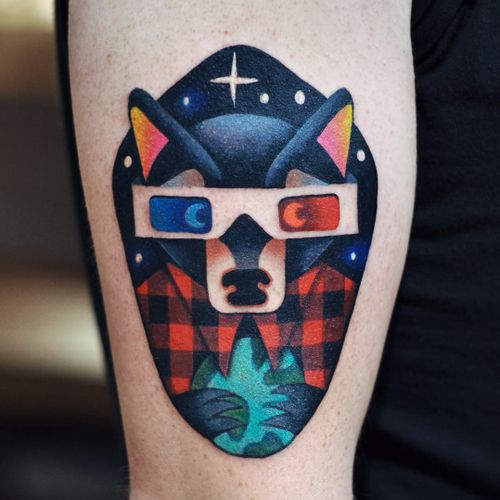 Hipster fox by David Peyote #DavidPeyote #thedavidcote #newschool #color #fox #wolf #plaid #3D #glasses #stars #globe #earth #hipster #tattoooftheday
