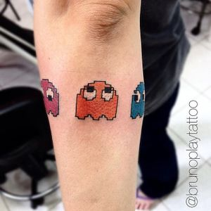 The ghosts, by Bruno Play #BrunoPlay #pacmantattoo #ghosts