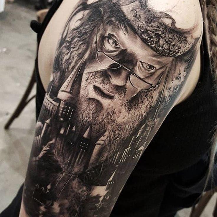 Black & Grey Hogwarts (with #Dumbledore) tattoo by Chris Mataafa'