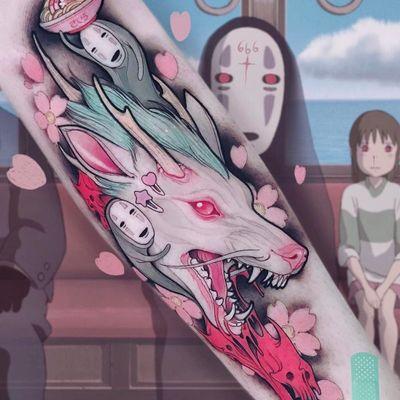 Haku and No Face tattoo by Brando Chiesa #BrandoChiesa #color #neotraditional #anime #manga #cherryblossoms #studioghibli #noface #haku #dragon #yokai #ghost #demon #spirit #folklore