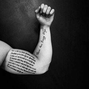 "Tattooed lyrics from ""Into The Fire"" and ""These Are Crazy Days"" on Jesper Ljungberg. #lettering #lyrics #songlyrics #BryanAdams"