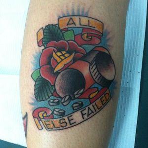 """All Else Failed"" by Jeremy W. Fath #JeremyWFath #pilltattoo #pill #pills #glass #pillbottle #rose #banner"