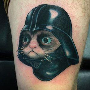 Darth Vader Cat tattoo by @mileskanne #mileskanne #neotraditionaltattoo #animaltattoo #stevestontattoocompany #cat