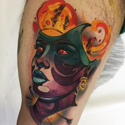 Lady tattoo by Cristian Casas #CristianCasas #kasaink #ladytattoo #lady #color #scifi #robot #portrait #ladyhead #electricity #fire #newtraditional #lips #eyes #tattoooftheday