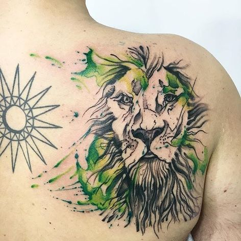 Abstract watercolor lion tattoo by Sandro Stagnitta. #sketch #watercolor #SandroStagnitta #abstract #lion