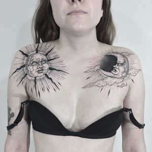 Sun tattoo and moon tattoo by Vanpira #Vanpira #blackwork #linework #illustrative #sun #moon #clouds #light #sky #nature #chestpiece #face #maninthemoon #tattoooftheday