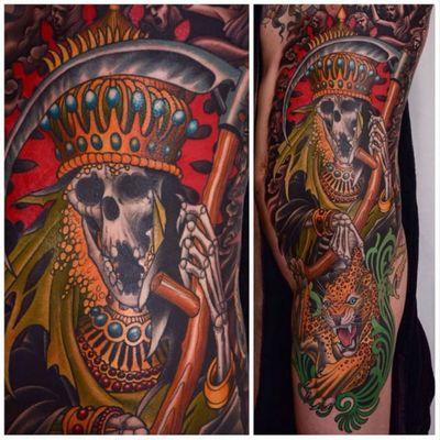 King Reaper and Leopard side tattoo by Peter Lagergren (IG—peterlagergren). #traditional #reaper #leopard #PeterLagergren