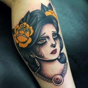 Sad girl tattoo by Danielle Rose #DanielleRose #ladyhead #traditional #sadgirl #tears #roses
