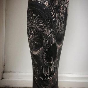 Notre Dame and Skull, by Sandry Riffard. (via IG—audeladureeltattoobysandry) #SandryRiffard #Skulls #Realism #Metal
