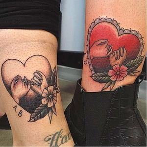 Neo traditional best friend tattoos are also such a cool option. By Emily Jane Breadner. #bestfriends #bestfriendtattoos #bfftattoos #matchingtattoos #neotraditionaltattoo #neotrad #hearttattoo #hearttattoos