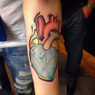 Heart tattoo by Szejn Szejnowski @szejno #heart #anatomical #graphic #graffiti #color #SzejnSzejnowski