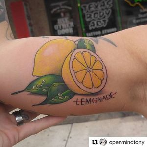 Fine line lemon tattoo by Tony Baker. #fineline #lemon #citrus #styledrealism #neotraditional #TonyBaker