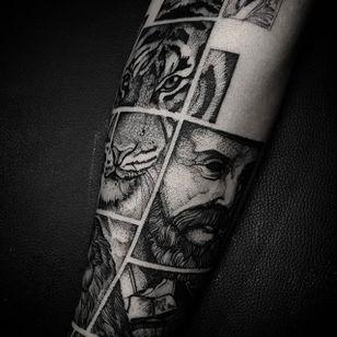Blackwork tattoo by Felipe Kross. #FelipeKross #blackwork #dotwork #tile #squared