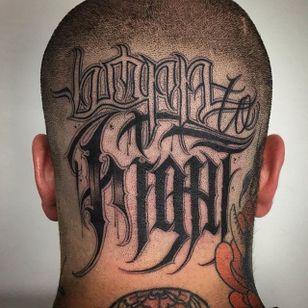'Born To Fight' Lettering Tattoo by Gabri #lettering #script #blacklattering #blackwork #blckwrk #GabriL