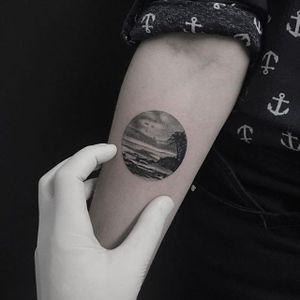 Dotwork beach tattoo by Filipe Pacheco. #FilipePacheco #dotwork #beach #blackandgrey #microtattoo #landscape #circle #nature #contemporary #beautiful #modern