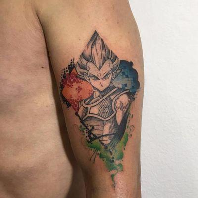 Vegeta! #PamelaBranco #TatuadorasDoBrasil #delicadas #delicate #fofas #cute #vegeta #dragonball #saiyajin #nerd #geek #colorido #colorful #anime