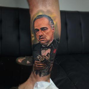 The Godfather tattoo by Leonardo Rojas #LeonardoRojas #movietattoos #color #realism #realistic #painterly #TheGodfather #marlonbrando #actor #famous #film #cat #rose #Italian #mafia #gangster #NY #tattoooftheday