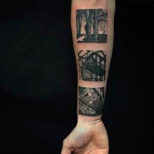 Landscape of the Woods Tattoo by Richard Warnock @RichardWarnockTattoo #RichardWarnockTattoo #Black #Blackwork #Illustrative #Scenery #SceneryTattoo #Rectangular