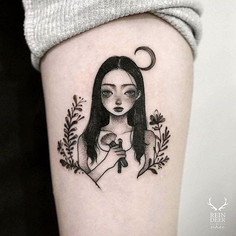 Are those makeup brushes? Idk, but she's pretty by Zihae (via IG- zihae_tattoo) #painterly #girlsgirlsgirls #zihae #illustrative