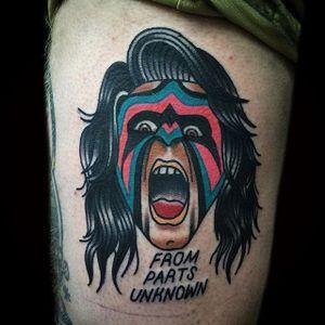 Ultimate Warrior Tattoo by Matt Cooley #traditional #traditionalportrait #MattCooley #UltimateWarrior