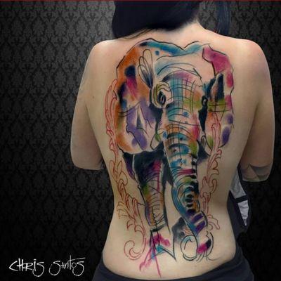 A very abstract watercolor elephant (IG—_mastablasta). ChrisSantos #elephant #watercolor