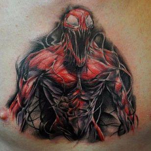 Carnage Tattoo by Benjamin Laukis #CarnageTattoos #SpiderManTattoo #SpiderManTattoos #SpiderMan #MarvelTattoos #ComicTattoos #ComicBook #SuperVillains #BenjaminLaukis