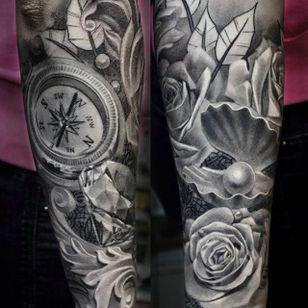 Beautiful forearm tattoo done by Anastasia Forman. #AnastasiaForman #realistic #blackandgray #rose #pearl #compass