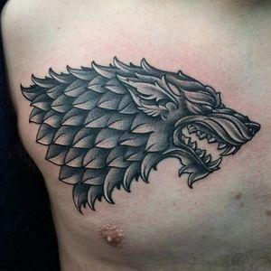 House Stark sigil tattoo by Alexis Zappia. #GOT #gameofthrones #tvshow #stark #direwolf #sigil