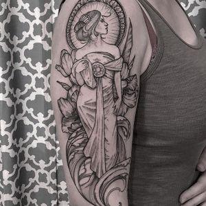 Alphonse Mucha tattoo by Amy Dowell #AmyDowell #ArtNouveautattoo #blackandgrey #linework #fineline #AlphonseMucha #lady #portrait #floral #flowers #nature