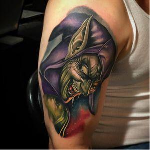 Green Goblin Tattoo by Poch Tattoos #greengoblin #greengoblintattoo #greengoblintattoos #spiderman #spidermantattoo #comic #comicbook #marvel #marveltattoos #PochTattoos