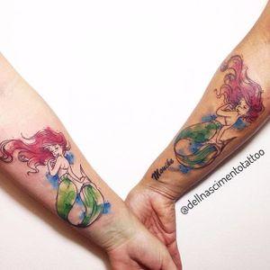 Sereia Ariel para selar o laço de amizade #DellNascimento #sereia #Ariel #pequenasereia #aquarela #mermaid #littlemermaid #aquarela #watercolor #colorida #colorful #disney #nerd #filmes #movies #TatuadoresDoBrasil
