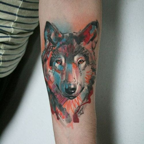Wolf tattoo by Ael Lim. #AelLim #marker #style #semiabstract #contemporary #sketch #experimentalism #wolf