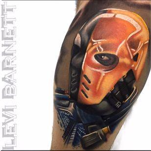 Deathstroke Tattoo by Levi Barnett #Deathstroke #DeathstrokeTattoos #DeathstrokeTattoo #DCComics #DCTattoos #ComicTattoos #DCTattoos #VillainTattoos #LeviBarnett